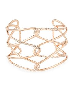 Y2MHF Alexis Bittar Rose Golden Barbed Crystal Cuff Bracelet