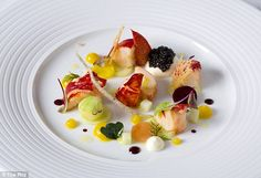Seafood sampling: This salad features native lobster, beetroot and pickled cucumber. Steam Veggies, Dinner Party Menu, Rod Stewart, Baby Carrots, Executive Chef, Prince Charles, Beetroot, Plated Desserts, Fine Dining