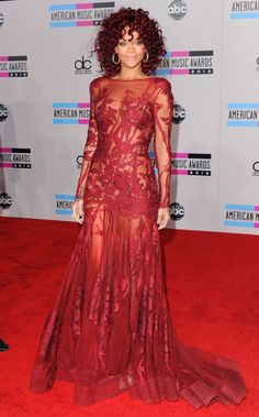 A memorable look: the chanteuse donned a sheer, berry-hued Elie Saab gown with curls of a similar shade at the 2010 American Music Awards.