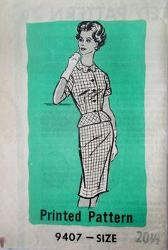 Mail Order 9407 Women's 50s Two Piece Dress Sewing Pattern Bust 41