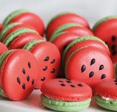 Watermelon Birthday Parties, 2nd Birthday Parties, Cute Baking, Macaroon Cookies, Watermelon Cake, Macaroon Recipes, Cute Desserts, Summer Treats, Cute Food