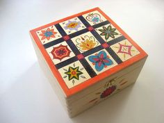 Wooden Memory Keepsake Box - Large Hand Painted Wooden Box with Moroccan Inspired Design.