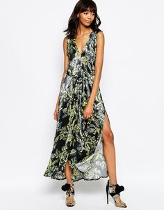 ASOS AFRICA Maxi Dress In Black Floral Print