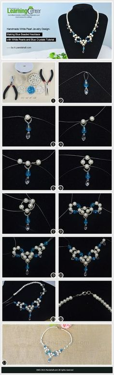 Handmade White Pearl Jewelry Design-Making Blue Beaded Necklace with White Pearls and Blue Crystals