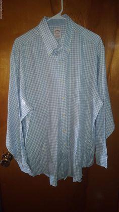Brooks Brothers Irish Linen White Blue Check Traditional Fit Men's Dress Shirt L #BrooksBrothers #daystarfashions $39