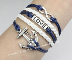 Silvery infinity love anchor bracelet,wax rope woven rope charm jewelry gift