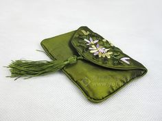 SILK HAND EMBROIDERED PURSE GREEN   chinese embroidery tutorial
