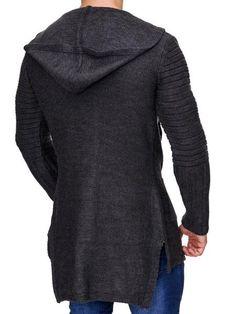 K&D Men Stylish Open Hoodie Sweater - Dark Gray