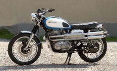 Kawasaki W400 TT Scrambler Kawasaki Cafe Racer, Kawasaki Motorcycles, Triumph Motorcycles, Cars And Motorcycles, Desert Sled, Street Scrambler, Japanese Motorcycle, Moto Style, Vintage Japanese