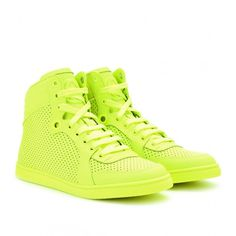 Gucci Neon Leather High-Tops ($698) ❤ liked on Polyvore featuring shoes, sneakers, gucci, flats, leather high tops, yellow flat shoes, leather high top sneakers, gucci sneakers and flat shoes
