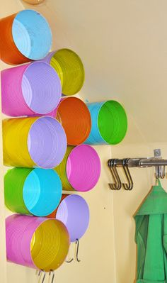 Av Susanne - tin can storage-fun colors for barn/kids area Can Storage, Storage Ideas, Playroom Storage, Smart Storage, Diy Projects To Try, Project Ideas, Kid Spaces, Diy Organization, Getting Organized