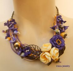 Anemone necklace  Multi strand necklace  Statement by insoujewelry