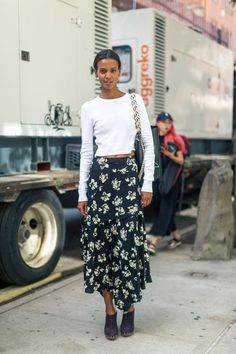 Liya Kebede in Proenza Schouler top, skirt, shoes and Hex bag