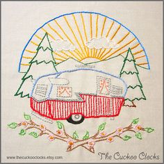 Let's go camping Set Hand Embroidery pattern PDF by BubbleStitch, $5.00