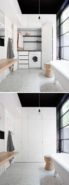 hidden laundry in bathroom Laundry Bathroom Combo, Laundry Closet, Dyi Bathroom, Bathroom Black, Bathroom Remodeling, Minimal Bathroom, Bathroom Cleaning, Bathroom Storage, Small Bathroom