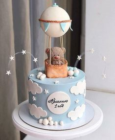 Teddy bears never go out of style. Beautiful and delicate for the party of the little ones. By C … – Lace Wedding Cake Ideas Baby Birthday Cakes, Baby Boy 1st Birthday, Baby Boy Cakes, Cakes For Boys, Torta Baby Shower, Baby Boy Shower, Baby Shower Parties, Baby Shower Themes, Bolo Mickey