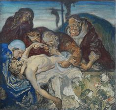 """Twentieth Century British Art by Frank Brangwyn: """"The Station: Jesus is Laid in the Tomb"""" Modern Art, Religion, Easter, Oil, Fine Art, Cats, Board, Painting, Gatos"""