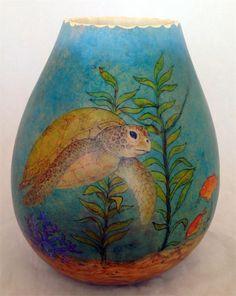 Beautiful Sea Turtle Gourd Vase by Gloria Crane featuring GourdMaster Ink Dyes