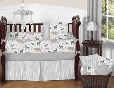Woodland Animals Crib Bedding Collection - Sweet Jojo Designs Woodland Baby Bedding, Baby Boy Crib Bedding, Baby Boy Cribs, Baby Bedding Sets, Crib Sets, Nursery Bedding, Baby Boys, Nursery Boy, White Nursery