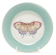 "Mottahedeh Apple Lace Butterfly Dessert Plate ~ Inspired by a centuries-old Chinese porcelain pattern and finished with glimmering 22 karat gold details, it's a work of art to be enjoyed as much as dessert itself. Made in Portugal; 7"" diam.; in blue, green, tan; 60.00 each."