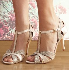 Scarlett cream t-bar dance shoes