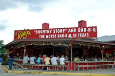 Rudy's BBQ in San Antonio, Texas. Great chopped meat, and the creamed corn is to die for. You'll really feel like you're in Texas if you eat here!