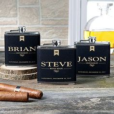 Cool Groomsmen Gift Idea! Personalized Leather Flasks - great gift idea for groomsmen that's actually practical!