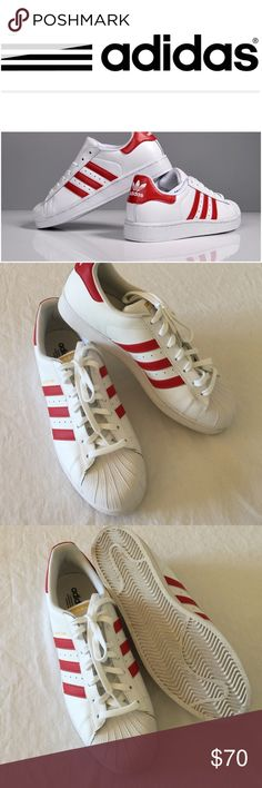 Adidas, mens, red superstars, nwob, size 11.5 be different..everyone has the old school black and white ones..Grab these red and white striped adidas superstars, nwob, size 11.5, 🚫no trades. Features include: > Smooth leather upper with breathable mesh lining > Padded collar for comfort > Lace closure for a secure fit > Signature side stripes > Classic rubber shell toe provides durability > Flexible rubber cupsole delivers excellent traction Adidas Shoes Sneakers