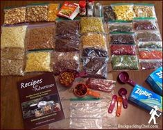 Backpacking Menu- This post tells how he prepared the foods, packaged then assembled the meals. It looks like a lot of work at first but well worth it. Need a dehydrator and food vacuum. Ultralight Backpacking, Backpacking Food, Camping Meals, Camping Hacks, Camping Recipes, Bushcraft Camping, Camping Cooking, Dehydrated Backpacking Meals, Backpacking Checklist