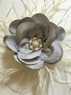Silver Grey Satin Chiffon Pearl Hair by FancyGirlBoutiqueNYC