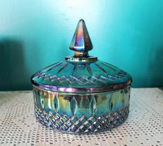 vintage-indiana-blue-carnival-glass Mine is gorgeous deep green! Antique Dishes, Antique Glassware, Glass Dishes, Candy Dishes, Blue Carnival Glass, Tea Sets Vintage, Vintage Carnival, Fenton Glass, Bottle Vase