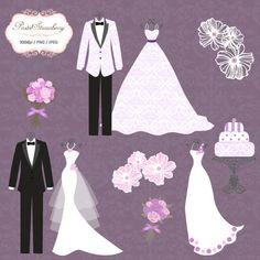 3 Luxury Wedding Dress and 2 Tuxedo purple by pastelstrawberry