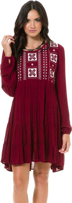 0307e1f57dfc Angie Long Sleeve Embroidered Dress http   www.swell.com Womens