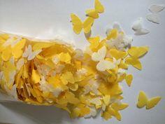 Biologisch Abbaubar Hochzeit Konfetti Gelb Elfenbeinfarbene Weiß Schmetterlinge