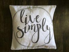 Live simply pillow for farmhouse decor
