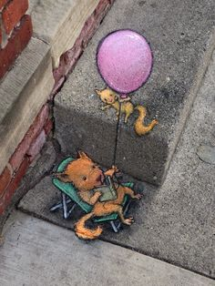 Quirky Chalk Art in the Streets of Ann Arbor // Michigan by David Zinn