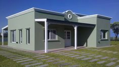 Verellen Hnos Arquitectura House Plans Mansion, 4 Bedroom House Plans, Free House Plans, Small House Plans, House With Porch, House Front, Flat Roof House Designs, Pintura Exterior, House Construction Plan