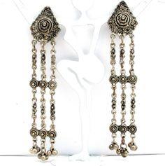 "Shoulder Duster Runway Bead Earrings 4"" Long Silver Dangle Clip Vintage | eBay"
