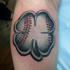 Gentleman With 3d Baseball Themed 4 Leaf Clover Tattoo On Bicep Of Arm