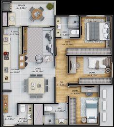 House Floor Design, Modern House Floor Plans, Sims House Plans, Sims House Design, House Layout Plans, Small House Design, House Layouts, House Construction Plan, Three Bedroom House Plan