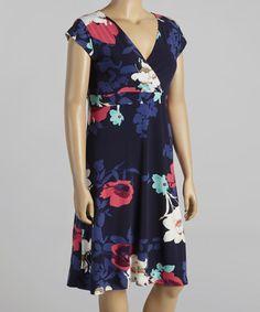 Look at this #zulilyfind! Black & Pink Floral Surplice Shift Dress - Plus by Reborn Collection #zulilyfinds