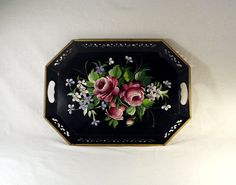 Vintage Flower Tole Tray Metal Tole Painted by FuzzieFrecklesandCo