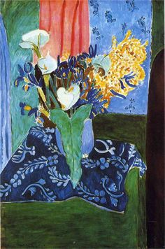 Calla Lilies, Irises and Mimosas - Henri Matisse - 1913 I chose this painting by . - Calla Lilies, Irises and Mimosas – Henri Matisse – 1913 I chose this painting because I like th - Henri Matisse, Matisse Kunst, Matisse Art, Lys Calla, Calla Lily, Calla Lillies, Design Rosa, Art Amour, Matisse Paintings