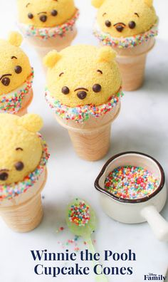 Create these Winnie the Pooh Cupcake Cones in honor of one of the best (and cutest) Disney characters. In this adorable dessert, ice cream is replaced by fluffy chiffon cake. Disney Home I Disney Decor I Disney Decorating I Walt Disney World Disney Desserts, Disney Food Recipes, Cupcake Cones, Fun Cupcakes, Disney Cupcakes, Disney Cake Pops, Cupcake Cupcake, Muffin Cupcake, Comida Disney