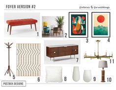 MidCentury Modern Foyer By Postbox Designs Mood Board, but this could also work in a mudroom, hallway, family room, dining room, or bedroom!