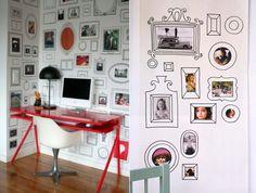 decoração de quarto com mural de fotos