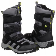 MERRELL Moab Polar Strap WP Grd Boots (Black/Green) - Kids' Boots - 3.5 M