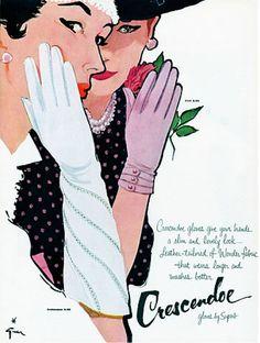 René Gruau, 1956, Crescendoe Gloves Ad..