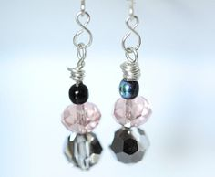 Crystal Dangle Earrings Pink and Grey Beaded Earrings by ScoSiCa, $12.00
