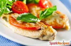 Parmesan Chicken with Tomato-Basil Salad (Chef Meg's Makeover) Recipe by CHEF_MEG via @SparkPeople